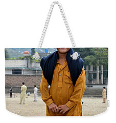 Weekender Tote Bag featuring the photograph Happy Laughing Pathan Boy In Swat Valley Pakistan by Imran Ahmed