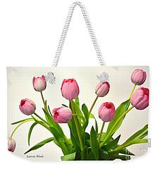 Weekender Tote Bag featuring the digital art Happy Spring Pink Tulips 2 by Jeannie Rhode