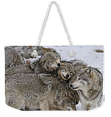 Happy Wolf Pack Weekender Tote Bag by Wolves Only