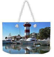Harbor Town Lighthouse Weekender Tote Bag by Carol  Bradley