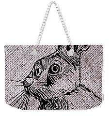 Hare On Burlap Weekender Tote Bag