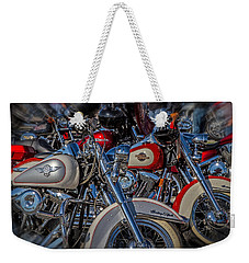 Weekender Tote Bag featuring the photograph Harley Pair by Eleanor Abramson
