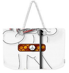 Weekender Tote Bag featuring the digital art Harmonica Player by Marvin Blaine