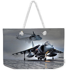 Harrier Gr9 Takes Off From Hms Ark Royal For The Very Last Time Weekender Tote Bag by Paul Fearn