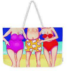 Funny Beach Women Man  Weekender Tote Bag by Rebecca Korpita