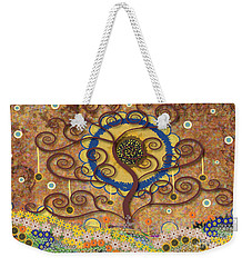 Weekender Tote Bag featuring the tapestry - textile Harvest Swirl Tree by Kim Prowse