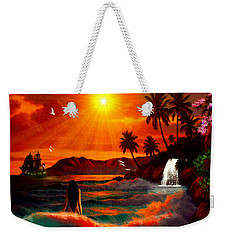 Weekender Tote Bag featuring the digital art Hawaiian Islands by Michael Rucker