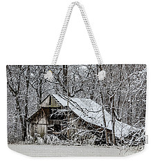 Weekender Tote Bag featuring the photograph Hay Barn In Snow by Debbie Green
