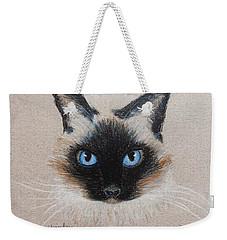 Weekender Tote Bag featuring the drawing Hayley by Jamie Frier