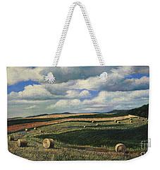 Hayrolls On Swirl Field In Latrobe By Christopher Shellhammer Weekender Tote Bag
