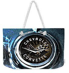 Weekender Tote Bag featuring the photograph Hdr Vintage Corvette Emblem Art by Lesa Fine
