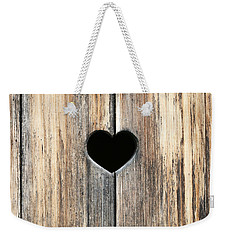 Weekender Tote Bag featuring the photograph Heart In Wood by Brooke T Ryan