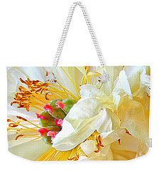 Weekender Tote Bag featuring the photograph Heart Of Peony by Nareeta Martin