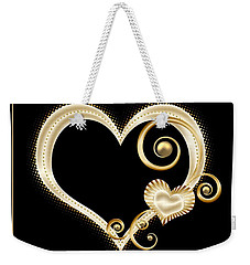 Hearts In Gold And Ivory On Black Weekender Tote Bag