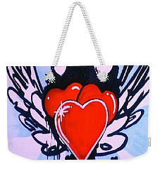 Weekender Tote Bag featuring the painting Hearts by Marisela Mungia