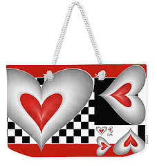 Hearts On A Chessboard Weekender Tote Bag by Gabiw Art