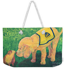 Weekender Tote Bag featuring the painting Hello - Cci Puppy Series by Donald J Ryker III