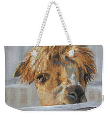 Weekender Tote Bag featuring the drawing Hello by Lori Brackett