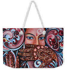 Weekender Tote Bag featuring the painting Henna by Harsh Malik