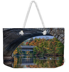 Weekender Tote Bag featuring the photograph Henniker Covered Bridge No. 63 by Jeff Folger