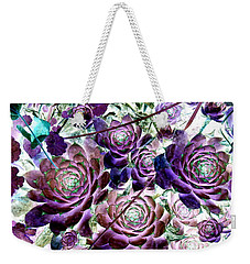Hens And Chicks - Botanical - Indigo Blue And Purple Weekender Tote Bag by Janine Riley
