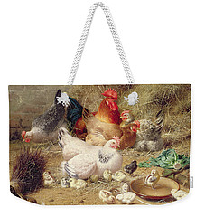 Hens Roosting With Their Chickens Weekender Tote Bag by Eugene Remy Maes
