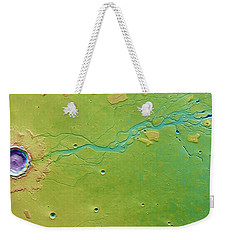 Weekender Tote Bag featuring the photograph Hephaestus Fossae, Mars by Science Source