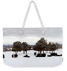 Herd Of Yaks Bos Grunniens On Snow Weekender Tote Bag by Panoramic Images