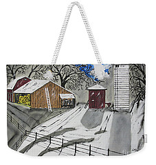 Weekender Tote Bag featuring the painting Here Comes The Sun by Jeffrey Koss