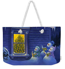 Weekender Tote Bag featuring the painting Here We Come A Caroling by Michael Humphries