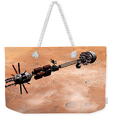 Weekender Tote Bag featuring the digital art Hermes1 Over Mars by David Robinson