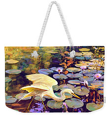 Heron In Lily Pond Weekender Tote Bag by David  Van Hulst