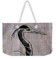 Heron On Burlap Weekender Tote Bag