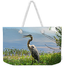 Heron On Lake Weekender Tote Bag