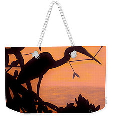 Weekender Tote Bag featuring the drawing Heron Sunset by D Hackett