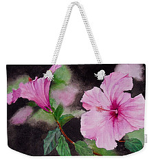Weekender Tote Bag featuring the painting Hibiscus - So Pretty In Pink by Sher Nasser