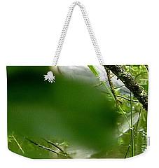 Weekender Tote Bag featuring the photograph Hidden Bird White by Susan Garren