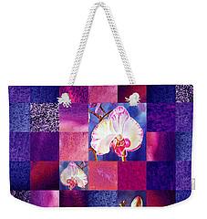 Hidden Orchids Squared Abstract Design Weekender Tote Bag by Irina Sztukowski