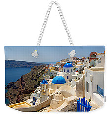 High Angle View Of A Church, Oia Weekender Tote Bag
