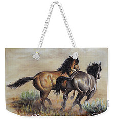 Weekender Tote Bag featuring the painting High Tailin' It by Kim Lockman