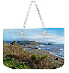 Highway 1 Near Outlet Of Russian River Into Pacific Ocean Near Jenner-ca  Weekender Tote Bag by Ruth Hager