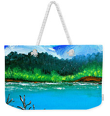 Weekender Tote Bag featuring the painting Hills By The Lake by Cyril Maza