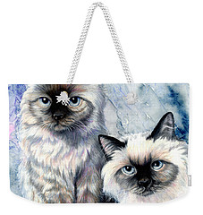 Weekender Tote Bag featuring the painting Himalayan Duo by Sherry Shipley