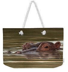 Hippo Painting Weekender Tote Bag by Rachel Stribbling
