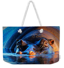 Hippopotamus  At Sunset Weekender Tote Bag by Johan Swanepoel