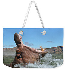 Hippopotamus Bursting Out Of The Water Weekender Tote Bag