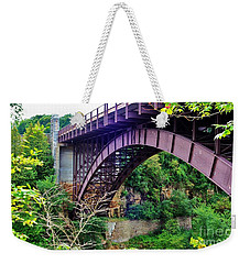 Historic Ausable Chasm Bridge Weekender Tote Bag by Patti Whitten