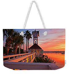 Historic Bridge Street Pier Sunrise Weekender Tote Bag by HH Photography of Florida