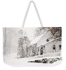 Weekender Tote Bag featuring the photograph Historic Church In Oella Maryland During A Blizzard by Vizual Studio
