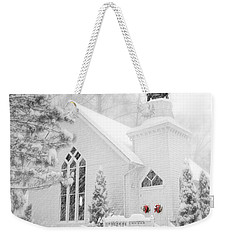 Weekender Tote Bag featuring the photograph White Christmas In Oella Maryland Usa by Vizual Studio